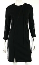 RALPH RUCCI Black Wool Knit Diagonal Zip Seamed Sheath Dress 4