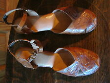 "vintage tooled leather sandals size 8?  10 1/4"" insole"
