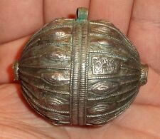 50mm Collier Pendentif Perle Argent Ancien Yemen Antique Silver Pendant Bead