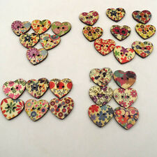 Lovely 100 Pcs Mixed Color 2 Holes Heart Shape Wood Buttons Sewing Inexpensive