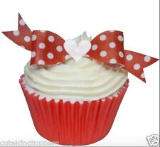 10 PRE CUT EDIBLE RICE WAFER PAPER RED POLKA DOT BOWS CUPCAKE PARTY TOPPERS