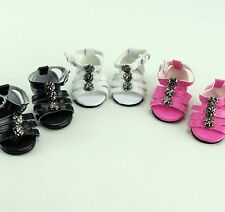 """Detailed Sandals in BLACK - sized for American Girl® & other 18"""" Dolls"""