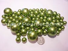 80 Jumbo &Assorted Sizes All Sage Green Pearls/Avocado Pearls Vase Filler Value