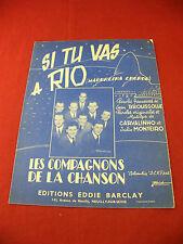 Partition Si tu vas à Rio Les Compagnons de la Chanson Eddie Barclay