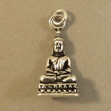 .925 Sterling Silver 3-D SITTING BUDDHA on Stand CHARM NEW Pendant 925 FA43