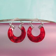 "1"" Red Natural Abalone Shell Handmade Hoop 925 Sterling Silver Earring"