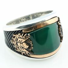 925 Sterling Silver Green Agate Stone  Men's Ring -US Seller-All Sizes 9-12 K6Q