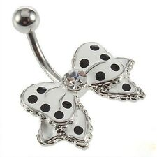 Navel Button Belly Stud Small Bow Barbell Ring Bar  Butterfly Piercing