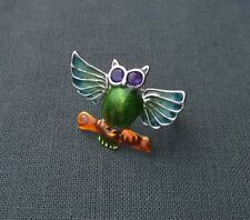 AAA Vivid colour 925 Solid sterling silver Amethyst enamel Wise Owl ring size P