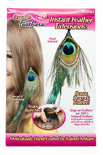 Hair Extensions Style As Seen On TV 5 Pack Snap On Feathers Peacok Clip Natural
