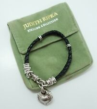 Charming Sterling Silver Braided Leather CZ Heart Judith Ripka Bracelet