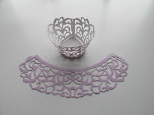 24 LILAC Filigree Lace CUPCAKE WRAPPERS COLLARS wedding FREE S/H shower table
