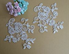 Floral Ivory Sewing on Trim Embroidery Wedding Motif Bridal Lace Applique 1 Pair