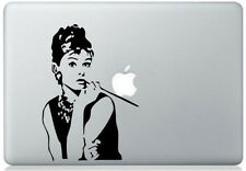 Audrey Hepburn vinyl sticker for Mac Book/Air/Retina laptops. Black decal