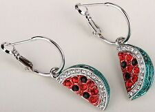 Watermelon Fruit Drop Dangle Earrings Crystal Rhinestone Silver-multi Gift ED04