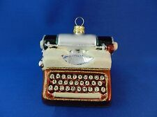Vintage Style Typewriter Newspaper Blown Glass Christmas Tree Ornament 011196
