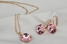 Luxus Schmuck Set Kette Ohrringe mit Rosa Kristall Stein Weihnachtsgeschenk !
