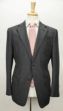 $6550 TOM FORD 'Spencer' Base D Navy Striped Wool & Silk Suit 38 40 R w/ Hanger