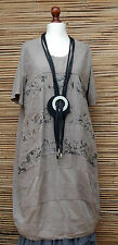 LAGENLOOK AMAZING LINEN/COTTON FLORAL LONG TUNIC/DRESS*TAUPE*SIZE 16-18