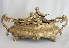 "Vintage FRENCH ROCOCO PUTTI CHERUBS BRONZE 14"" JARDINIERE Planter Centerpiece"