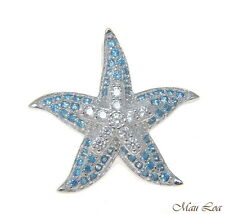925 Silver Rhodium Genuine Blue Topaz and CZ Hawaiian Starfish Sea Star Pendant