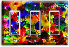 COLORFUL MURANO GLASS TRIPLE GFI LIGHT SWITCH WALL PLATE COVER LIVING ROOM DECOR
