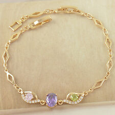 Turkey Style 9K Solid Gold Filled Swarovski Crystals Evil-Eye Bracelet,Z2823