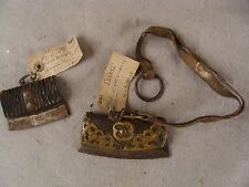 2 Antique 19C China Tibet Brass Leather Steel Flint Fire Starter Tools