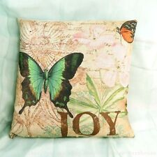 US Seller-vintage butterfly vintage retro cotton linen cushion cover