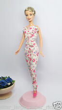 HANDMADE PINK FLOWER WHITE OUTFIT DRESS & NECKLACE FOR BARBIE DOLL SILKSTONE FR