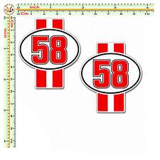 marco simoncelli adesivi strisce rosse 58 sticker auto moto casco corse 2 pz.