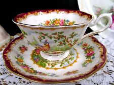 ROYAL ALBERT  TEA CUP AND SAUCER  CHELSEA  BIRD PATTERN AVON SHAPE RED TEACUP