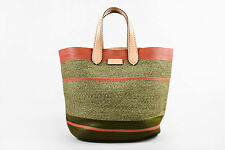 Etro NWT $1800 Green Pink Striped Straw Top Stitch Tote Beach Bag
