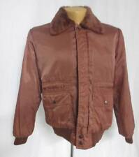 Vtg Giovanni Bomber Coat Jacket Retro Old School Filled Nylon Plush Collar Large
