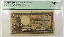 1938-44 25.4.1942 South Africa 1 Pound Note SCWPM# 84e PCGS VF-20 Apparent