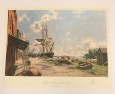Georgetown Vessels at the Potomac Wharf 1842 by John Stobart Signed & Numbered