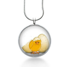 Yellow Chicken, Easter Necklace, pendant, chick, eggs, holiday jewelry for her