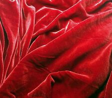 "Silk VELVET Fabric RUBY RED 9""x22"" remnant"