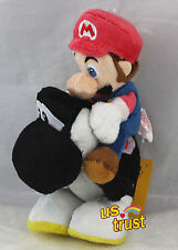 9inch Super Mario Plush Toy Mario Riding On Black Yoshi Stuffed Animal Doll