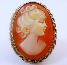 VINTAGE 800 SILVER GOLD ROPE CARVED SHELL CAMEO RING ITALY 6.75