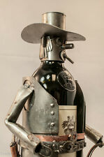 Handcrafted Rugged Caddy CowPoke Metal Wine Bottle Holder Free Standing Counter