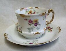 Vintage Gustav Demartial (G.D. & Co) Limoges Flowers & Gold Gilt Cup & Saucer