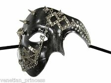 New Steampunk Style Silver Phantom of The Opera Mens Half Masquerade Mask Chains