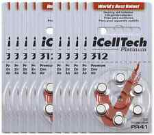 60x New Hearing Aids Platinum iCellTech Korea Zinc Air Battery Size 312