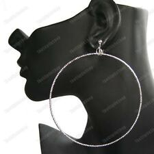 "CLIP ON big ROPE PATTERN 9cm/3.5""HOOP EARRINGS fashion texture hoops SILVER PLTD"