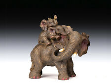 NEW AFRICAN ASIAN MOTHER ELEPHANT WITH TWO BABIES ON HER BACK STATUE FIGURE 5.5""