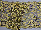 "*Stunning Black and Yellow Gold Wide Stretch Lace Trim 7""/17.5cm Lingerie Sewing"