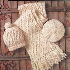 Knitting pattern-femme-homme-enfant aran écharpe-béret et casquette