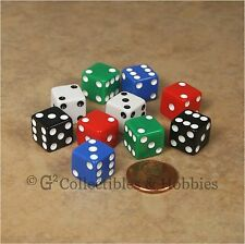 NEW Set of 10 Multicolor 12mm D6 Six Sided RPG MTG Game Dice 1/2 inch - 5 Colors