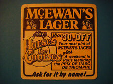 Beer Coaster    McEwan's Brewery Lager ~ Edinburgh, Scotland    Win a Paris Trip